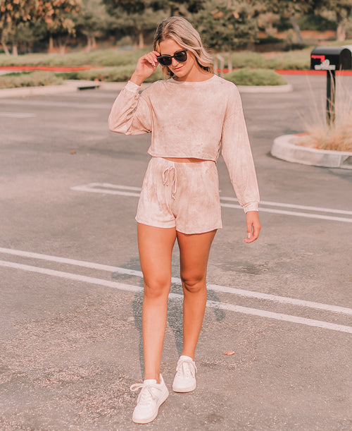 Blush Tie Dye Loose Knit Lounge Shorts (7A1759E)