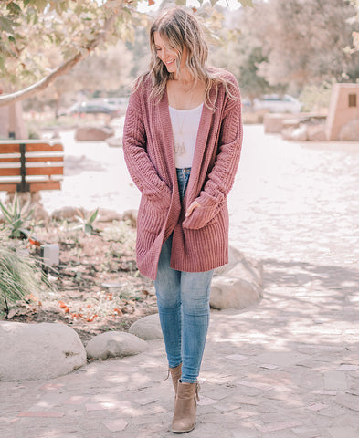 Mauve Peach Skin Hooded Jacket (8747JS)
