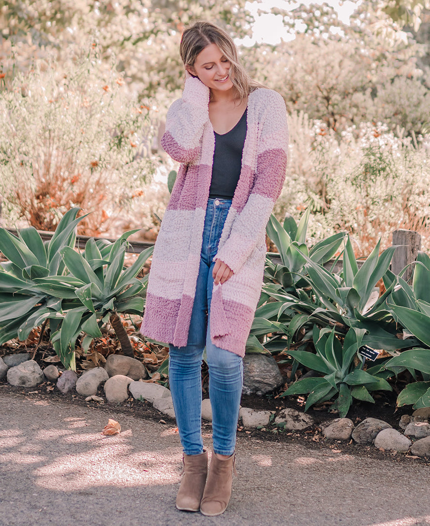 Mauve Colorblock Long Cardigan (VT003)