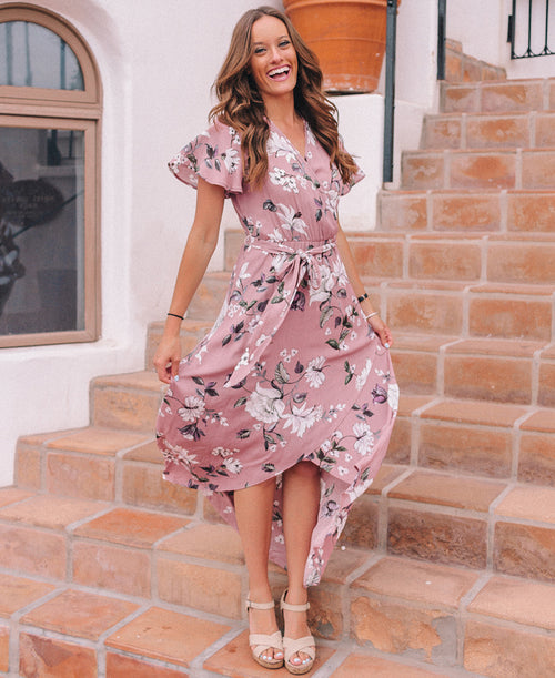 Mauve Floral Print 'Dorine' Wrap Dress