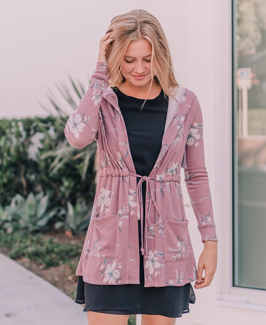 Mauve Floral 'Rhonda' Waffle Knit Hooded Cardigan (14521)