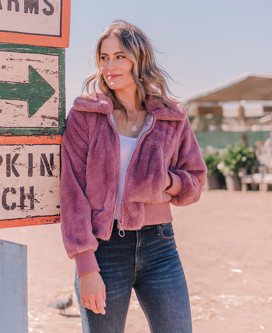Lavender Faux Fur Zip-Up Jacket (J36304-B)