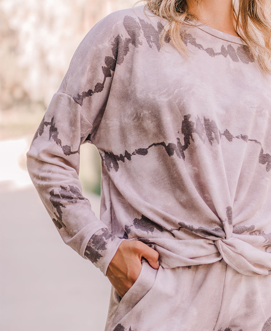 Taupe Tie Dye Twist Front Pullover Top (10573T)