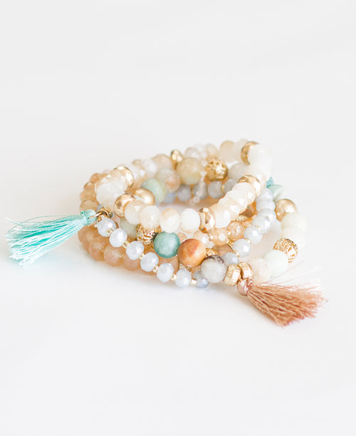 Mint & Peach Tassel Bracelet Set