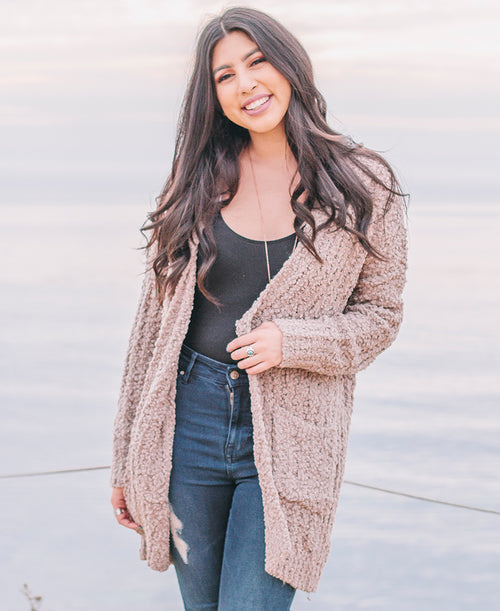 Mocha Soft Open Front Cardigan