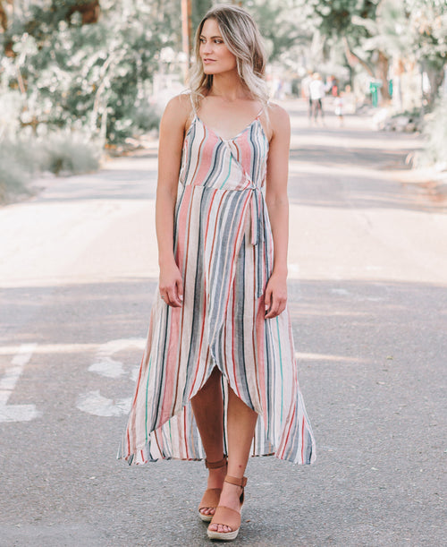 Multi Stripe Wrap Dress