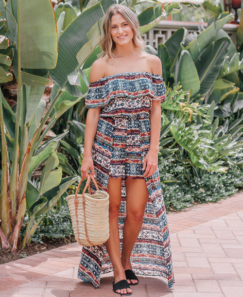 Multicolor Aztec Print Romper with Skirt