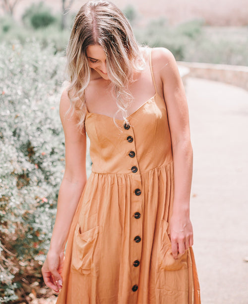 Mustard Button Front Midi Dress