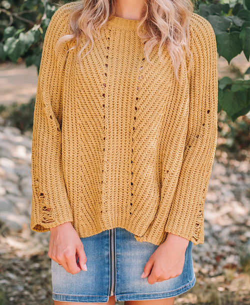 Mustard Loose Knit Chenille Sweater