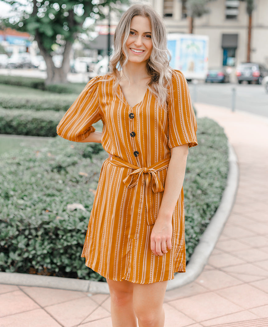 Mustard Striped Twill Button Dress
