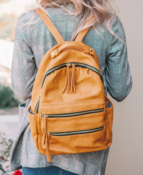 Mustard Yellow Vegan Leather Backpack