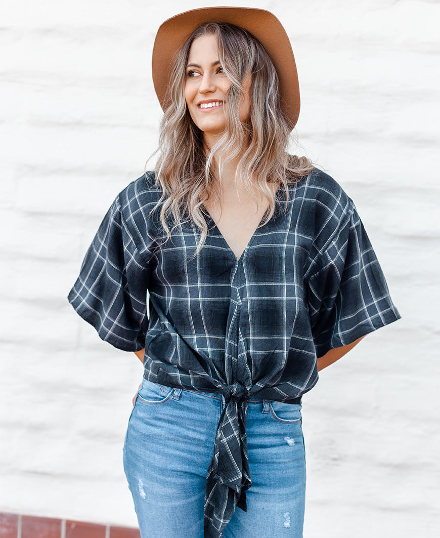 Navy & Black Plaid Flannel Tie Front Top