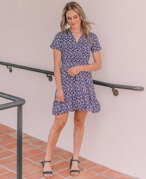 Navy Floral 'Allie' Wrap Dress (14901)