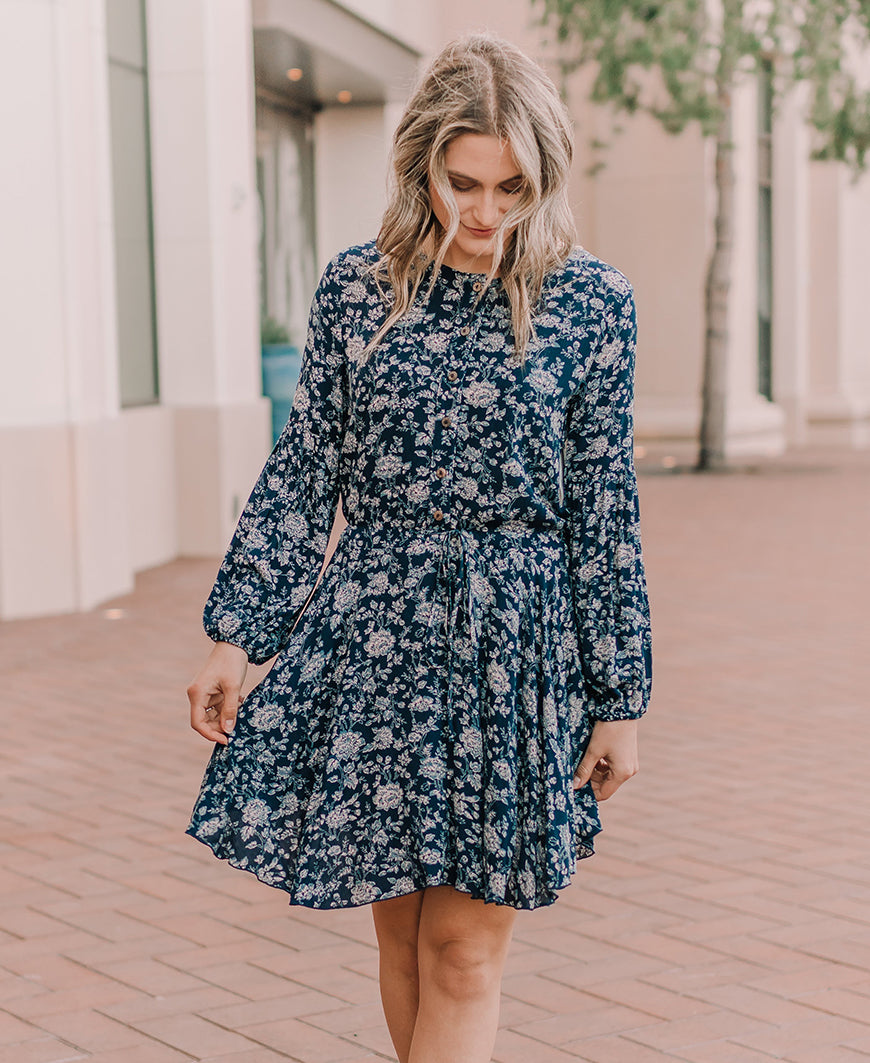 Navy Floral 'Olive' Balloon Sleeve Dress (15115)