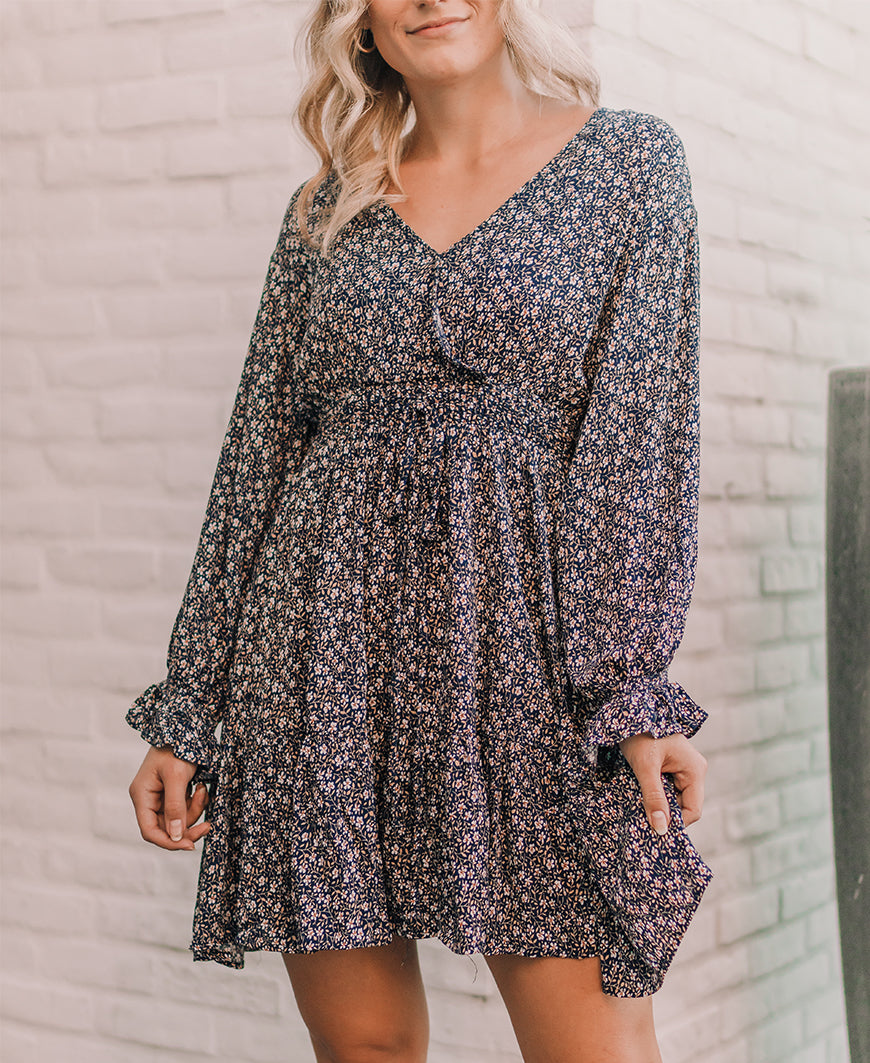 Navy Floral Long Sleeve Dress (KD5078)