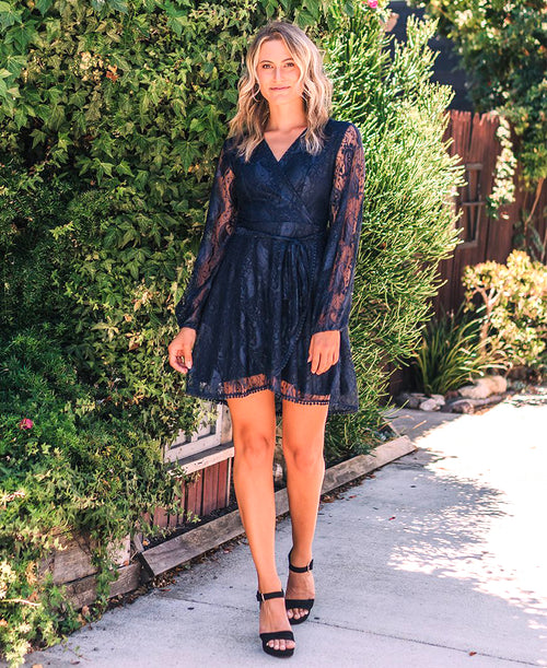 Navy 'Reese' Long Sleeve Lace Dress