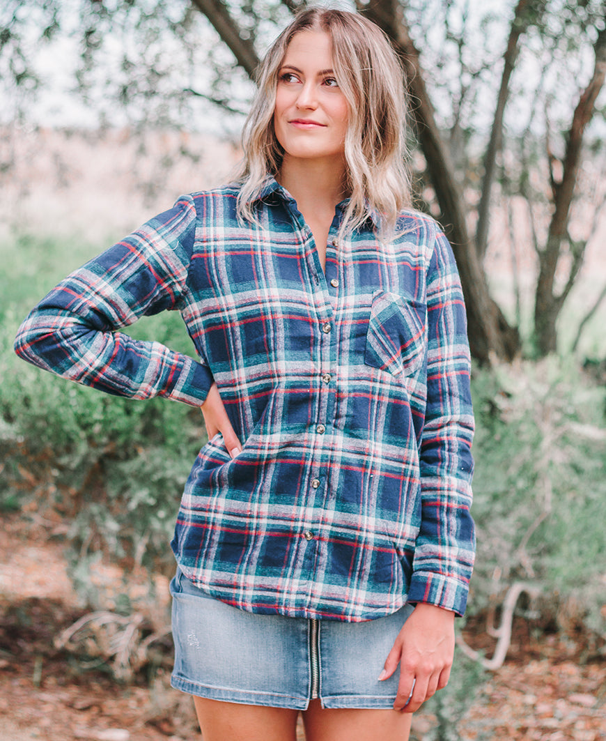 Navy Plaid Fleece Lined Flannel Jacket