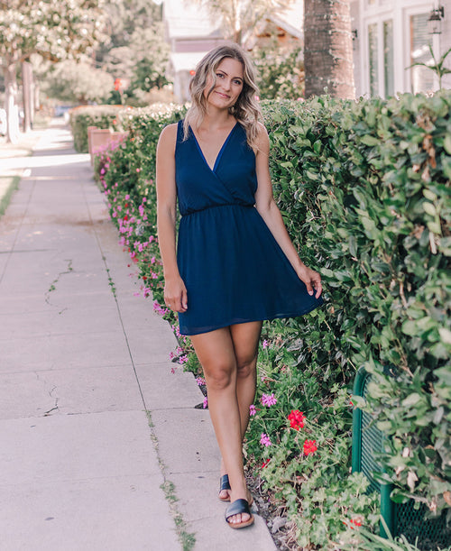 Navy 'Sadie' Wrap Top Dress (14932)
