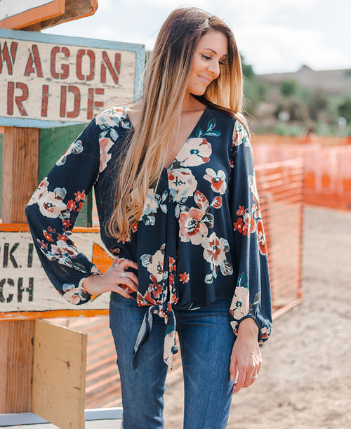 Navy Spice Floral Tie Front Blouse