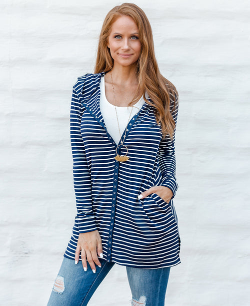Navy Striped 'Kelly' Button Down Jacket