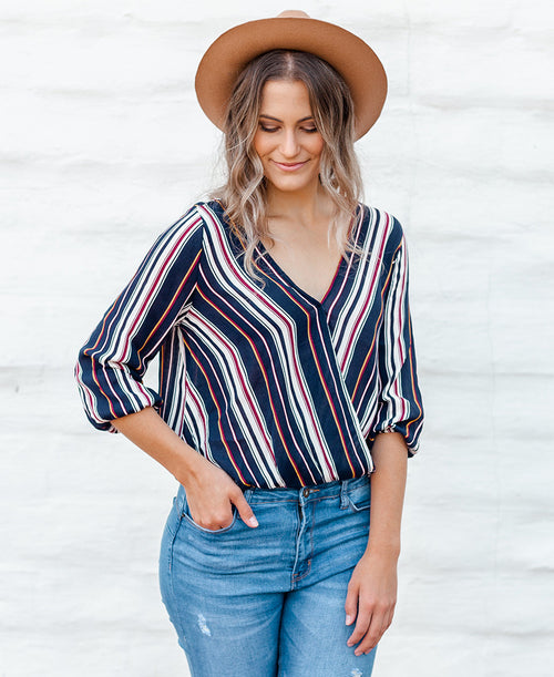 Navy Striped Surplice Top