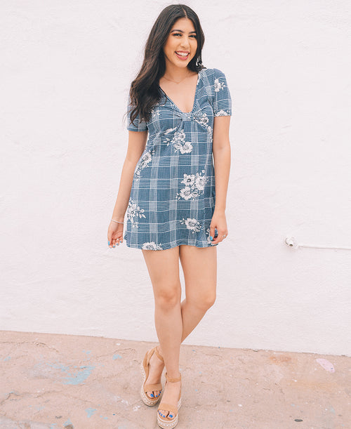 Navy Flower Print Short Sleeve Dress