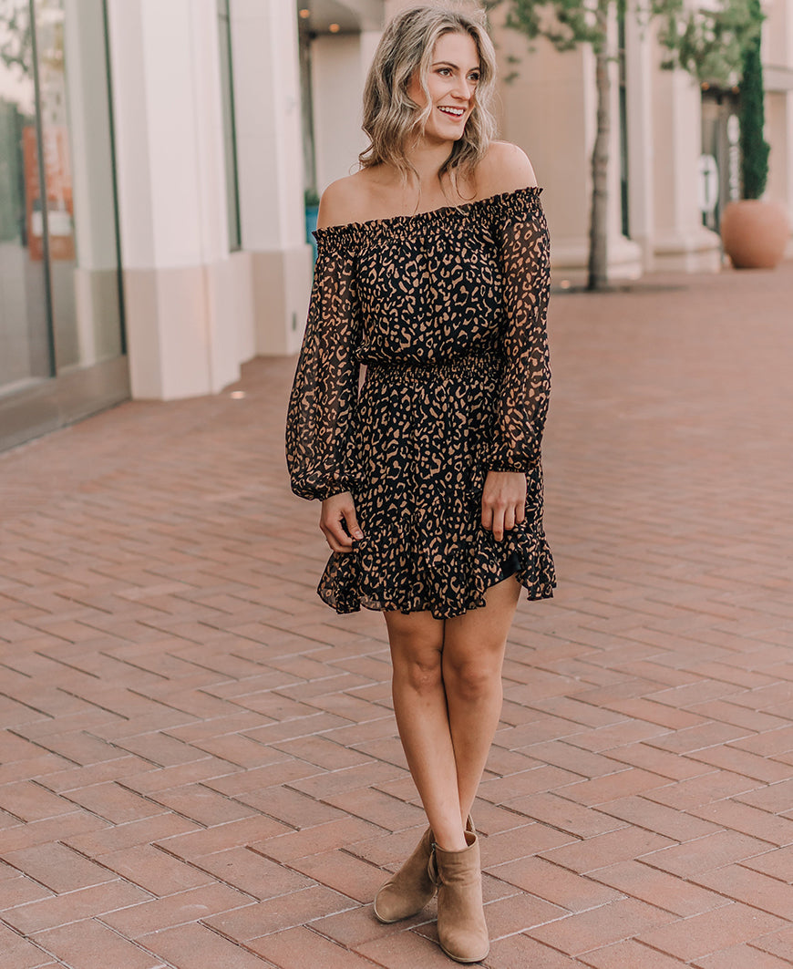 Leopard Print Off the Shoulder Dress (FD0969)