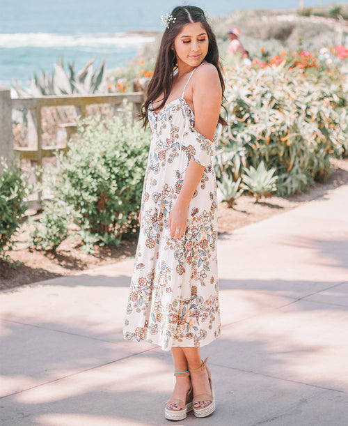 Off White Floral Midi Dress