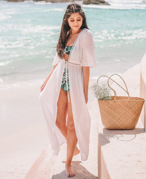 White Crochet Trim Long Duster