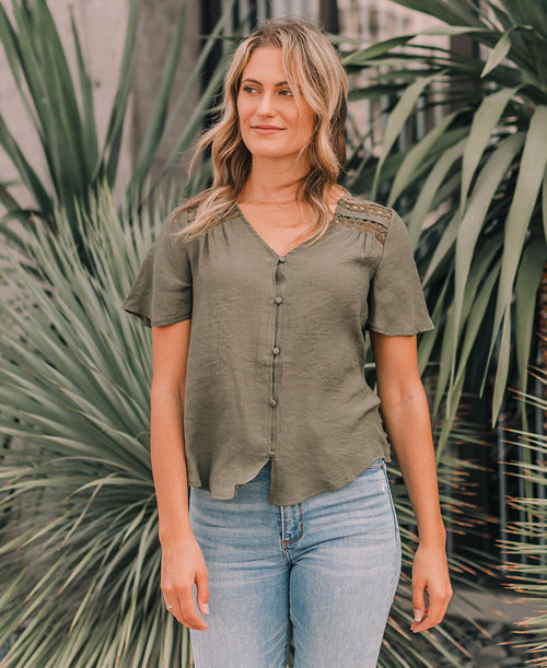 Olive Boho Button Top (TB5290)