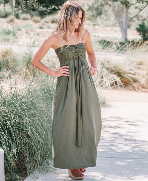 Olive Strapless 3-Way Maxi Dress