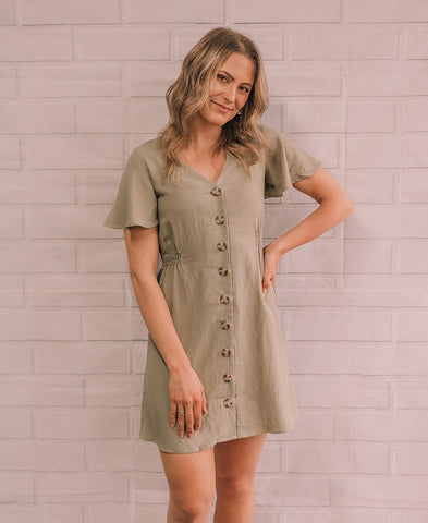 Black 'Olive' Balloon Sleeve Dress (15115)