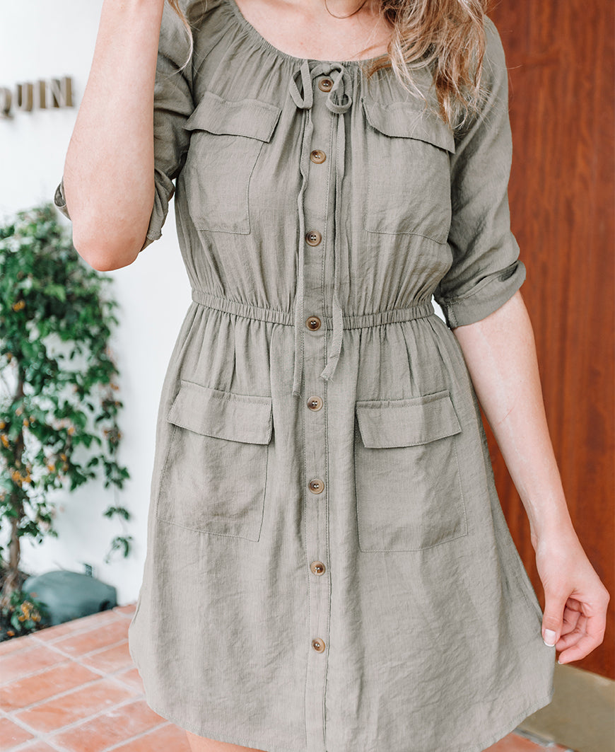 Olive 3/4 Sleeve Buttondown Pocket Dress (TB7278)