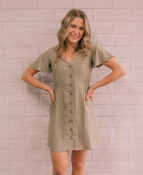 Olive Button Up Flutter Mini Dress (TB5644)