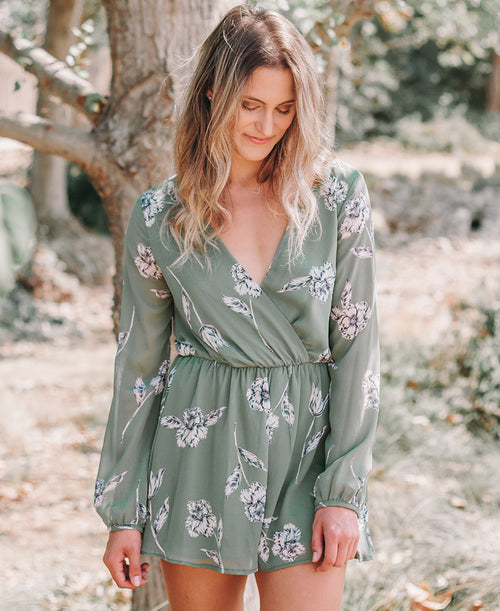 Olive Green Floral Long Sleeve Romper