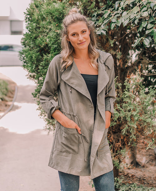 Olive Peach Skin Hooded Jacket (32601)