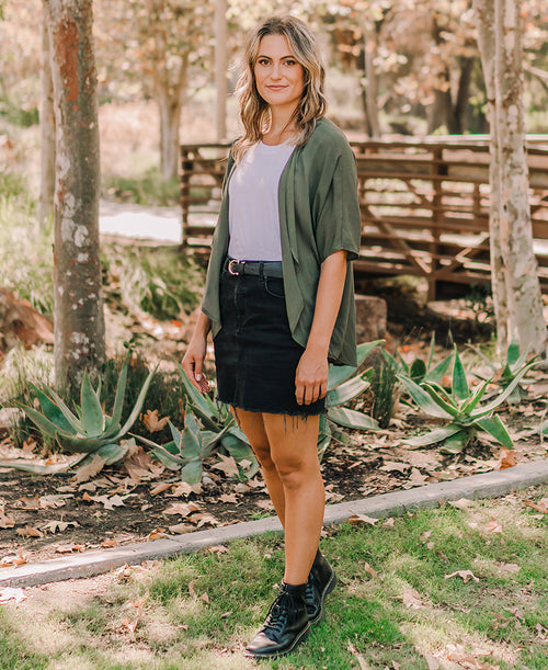 olive green kimono cute fall outfit