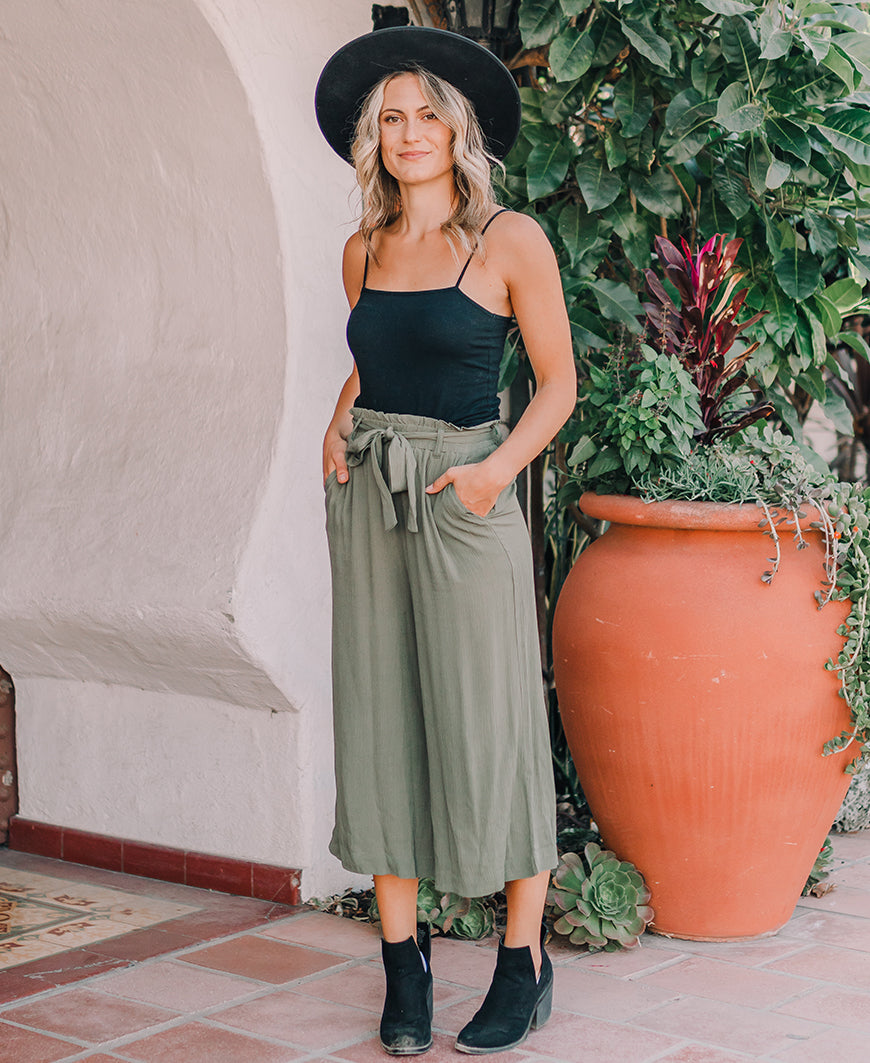 Olive Green Tie Waist Cropped Pants (42211-20)