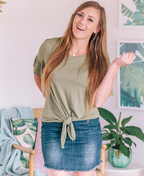 Olive Green Ruffle Sleeve Tie Front Top