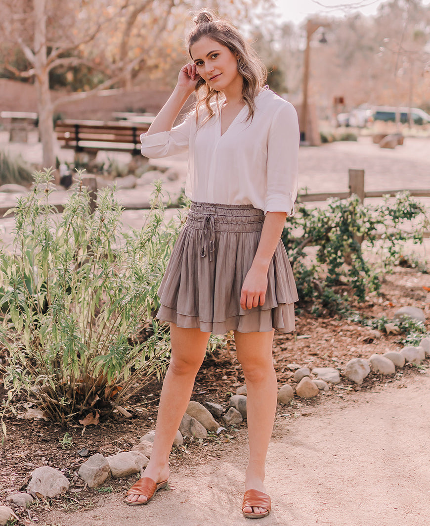 Olive Layered Mini Skirt (S16104)