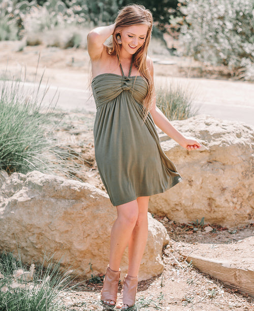 Olive Green Strapless 3-Way Dress