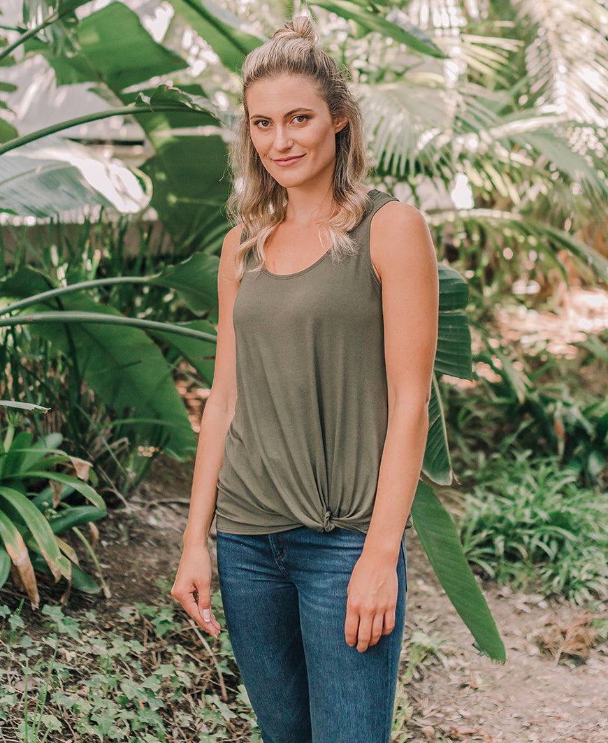 Olive 'Emily' Twist Front Tank (14402-20)