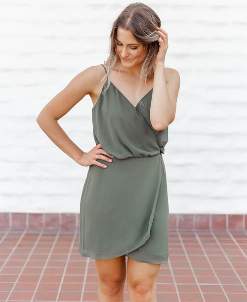 Olive Chiffon Wrap Dress