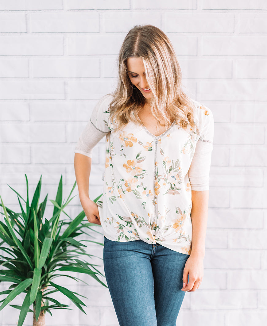 "Natural Yellow Floral ""Hannah"" 3/4 Sleeve Tee (14763-279)"