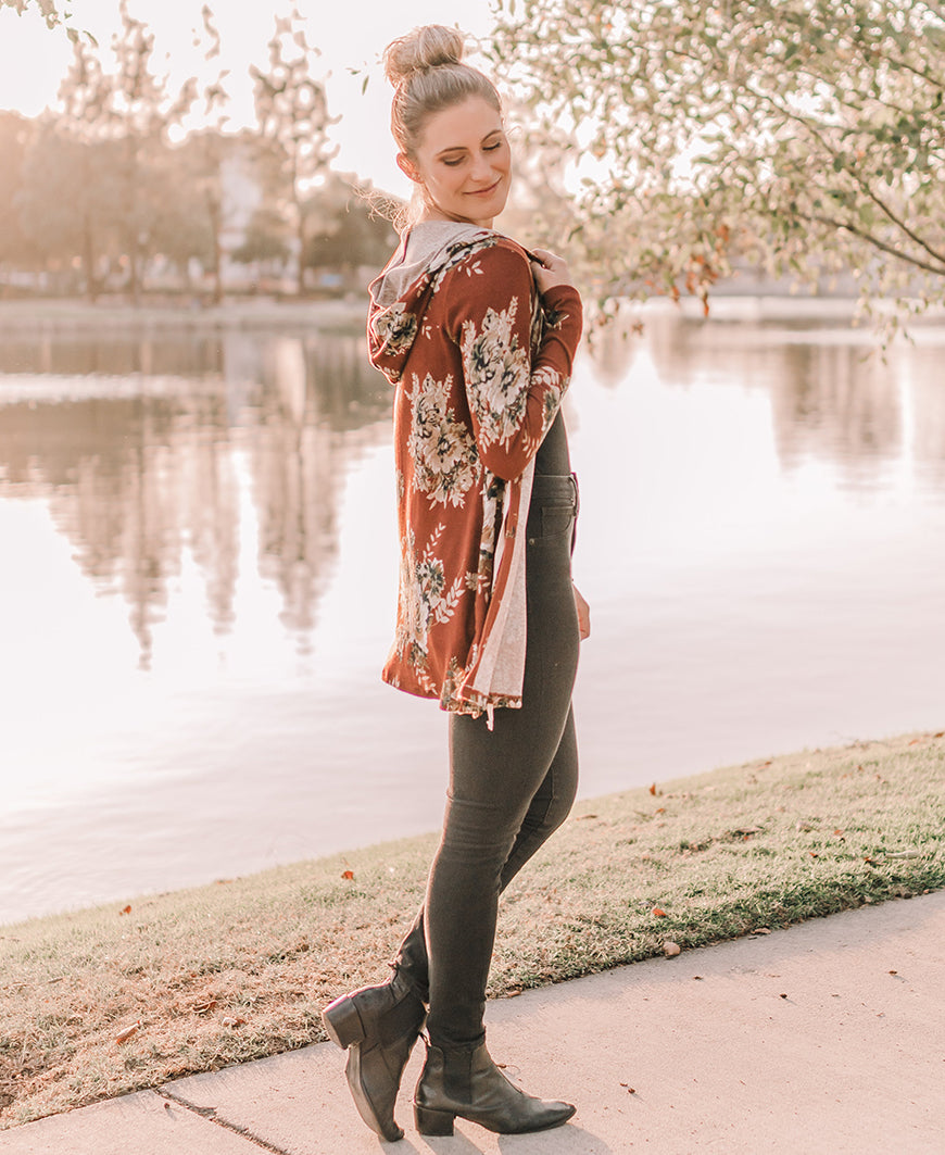 Rust Floral Hooded Cardigan (14987)
