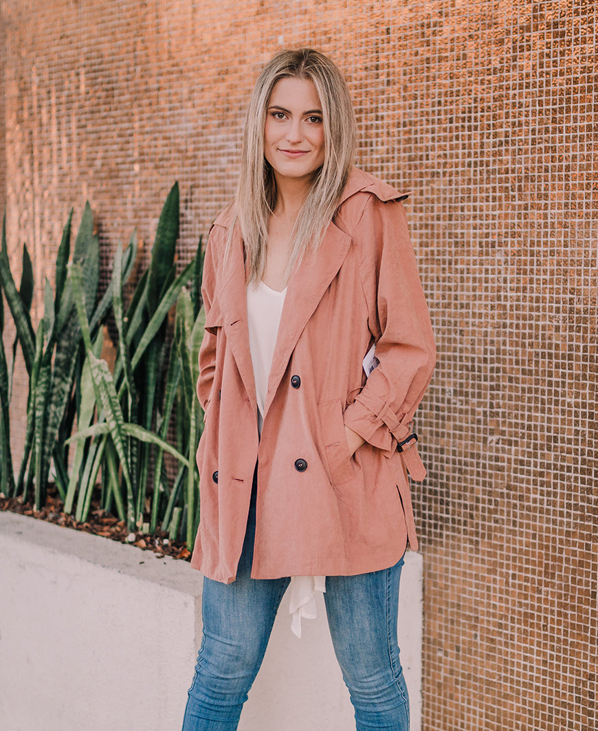 Rust Hooded Short Trench Coat (SJ17829)