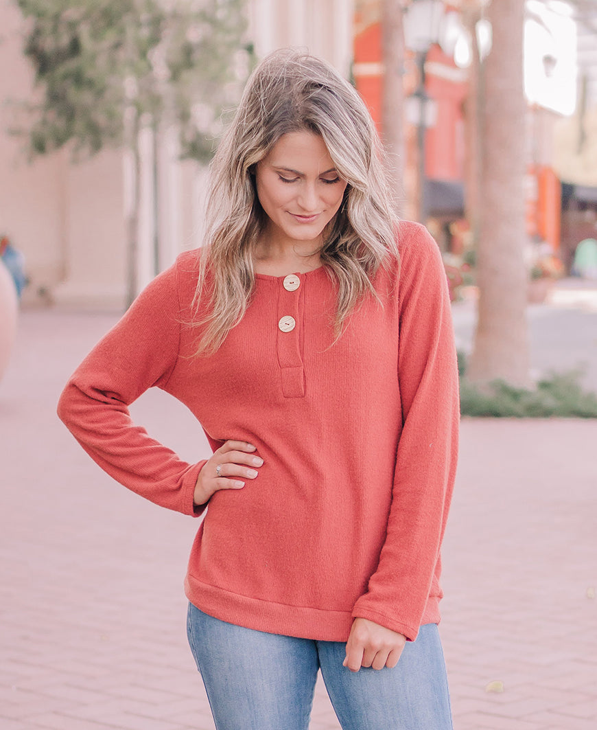Burnt Orange Button Sweater Top (10944)