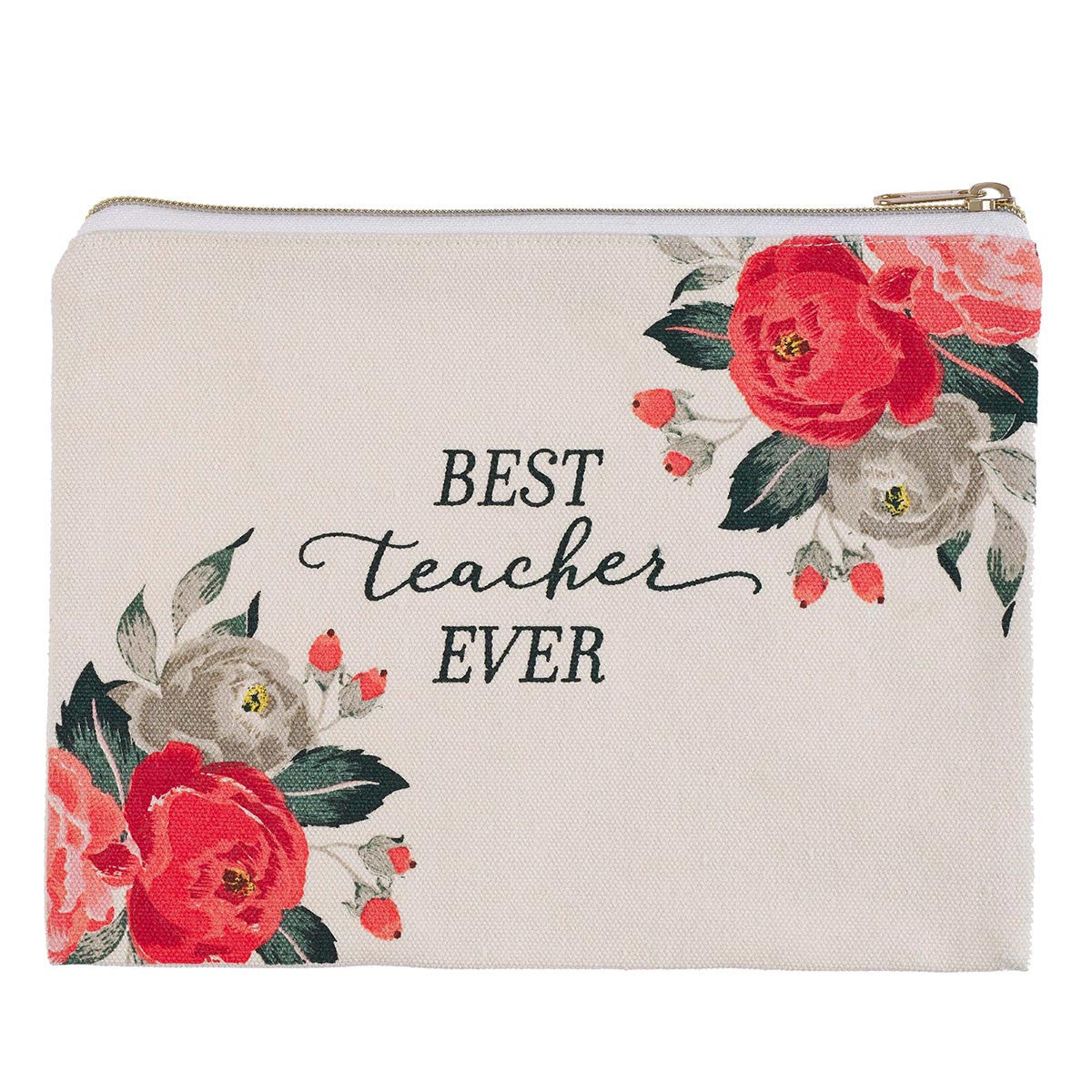 Best Teacher Ever Canvas Pouch (PCA008)