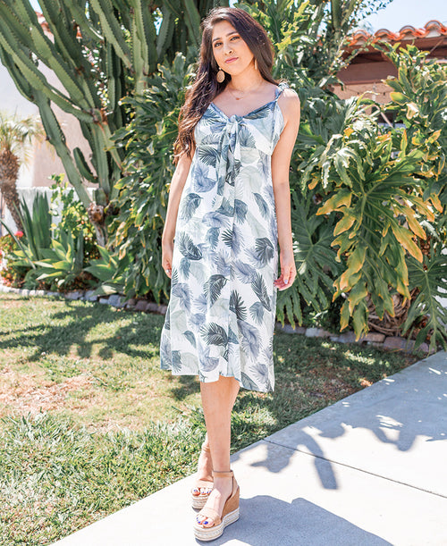 Palm Leaf Print Midi Dress