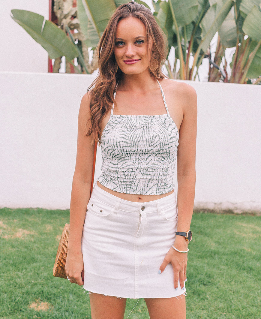 Palm Print Smocked Crop Top